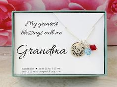 Gift for grandma gift sterling silver necklace by SilverStamped