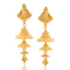Check out beautiful latest traditional gold jhumka designs in yellow & rose gold. Each jhumka designs will steal your heart. Jhumka Designs, Gold Earrings Designs, Jewellery Designs, Necklace Designs, Bridal Jewellery, Gold Jewellery, Jewlery, Bridal Blouse Designs, India Jewelry