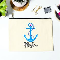 Nautical Makeup Bag, Personalized Makeup Bag, Makeup Bag, Nautical Bag, Bridal Party Gift, Bridal Shower Gift, Anchor Bag, Canvas Makeup Bag Personalized Makeup Bags, Bridesmaid Proposal Gifts, Mild Soap, Summer Wedding, Cotton Canvas, Trending Outfits, Unique Jewelry, Handmade Gifts, Etsy