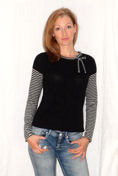 Longsleeves - Pulli schwarz gestreift - ein Designerstück von lucylique bei…