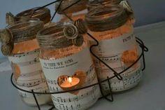 Ball jar and music sheets