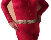 January SALE SAMPLE mjcreation ready for shipping catsuit unitard red stretch velvet sample sale sale