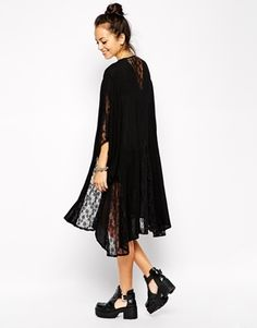 Enlarge Glamorous Kimono with Lace Inserts