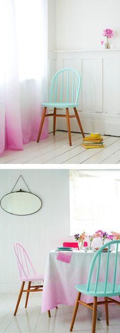 Conjunto de cortinas y juego de mesa de color rosa - Inspiración