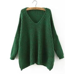 Green V Neck Batwing Sleeve Loose Sweater ❤ liked on Polyvore featuring tops, sweaters, loose tops, loose fit tops, cut loose tops, loose fitting tops and green sweater