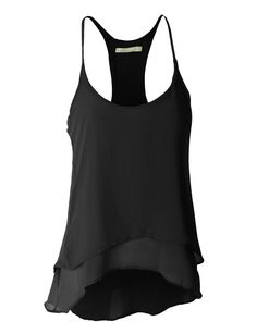 LE3NO Womens Semi Sheer Flowy Hi-Low Sleeveless Racerback Tank Top