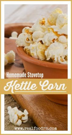 Easy Stovetop Homemade Kettle Corn. No popcorn popper required! This recipe also does not use sugar, but still produces a sweet and delicious kettle corn that you won't be able to stop eating! realfoodrn.com #kettlecorn #popcorn