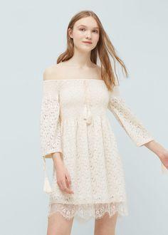 Robe guipure coton - Robes pour Femme | MANGO France