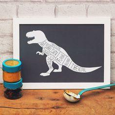 Dinosaur Print  Funny T-Rex Butcher's Cuts. by WeArePaperPlane