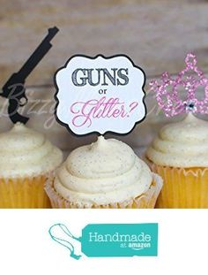 12 GUNS OR GLITTER - Gender reveal baby shower Cupcake Toppers (12 toppers) from Bizzy Moms Creations http://www.amazon.com/dp/B0198YU13O/ref=hnd_sw_r_pi_dp_BBLQwb1Q2ZKRQ #handmadeatamazon