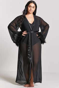 Product Name:Plus Size Sheer Feather Cuff Robe Category:plus_size-best-sellers - Plus Size Pajamas for women - Ideas of Plus Size Pajamas for women - Product Name:Plus Size Sheer Feather Cuff Robe Category:plus_size-best-sellers Black Pajamas, Sexy Pajamas, Pajamas Women, Lingerie Party, Sheer Lingerie, Plus Size Lingerie, Black Lingerie, Plus Size Girls, Plus Size Women