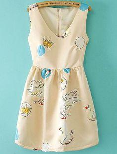 Apricot V Neck Sleeveless Swan Print Dress US$29.67