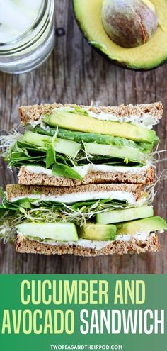 Start Your New Year With A Healthy Food With This Cucumber And Avocado Sandwich. This Fresh And Simple Vegetarian Sandwich Is Made With Cucumber, Avocado, Lettuce, Sprouts, And Herbed Goat Cheese. It Is Great For Lunch Or Dinner. This Sandwich Is Great Fo Cold Sandwiches, Cucumber Sandwiches, Healthy Sandwiches, Breakfast Sandwiches, Cucumber Wrap Recipe, Sandwiches For Dinner, Goat Cheese Sandwiches, Panini Sandwiches, Finger Sandwiches