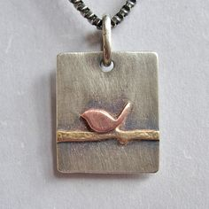 Silver Brass Copper Bird on a Wire Pendant