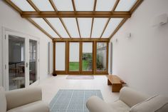 Grand Design Blinds' Plisse Pleated Blinds in a Timber Conservatory Timber Windows, Grand Designs, This Is Us, Oversized Mirror, Blinds, London, Conservatory, Home Decor, Weaving