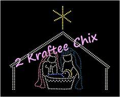 Nativity Rhinestone Tshirt, Nativity Bling Tshirt, Nativity Custom T, Manger Scene Rhinestone Tshirt, Manger Scene Bling Tshirt by 2KrafteeChix on Etsy