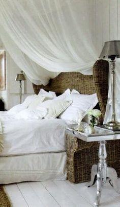 Rattan bed, white linens and sheer canopy, Tricia Foley Dream Bedroom, Home Bedroom, Master Bedroom, Bedroom Decor, Extra Bedroom, Rivera Maison, Wicker Headboard, Wicker Bedroom, Wicker Couch