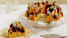lime, lemon thyme, and blueberries cake