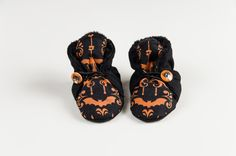 Goth baby shoes, non slip booties
