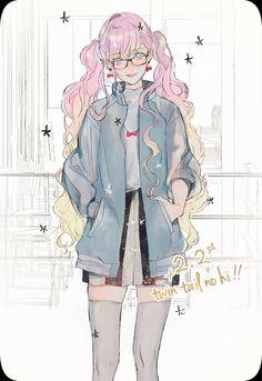 Pink pigtails twin tails bomber jacket anime lolita illustration