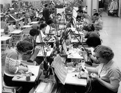 Workers creating microcomputer boards, 1960s -- International Association of Machinists, District Lodge 727, ca. 1960s. International Association of Machinists Collection. San Fernando Valley History Digital Library.