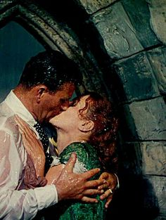 """Famous classic kissing movie scenes. John Wayne and Maureen O'Hara in """"The Quiet Man"""". #1940s #1950s"""