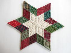 Navidad decoración mesa acolchada estrellas edredón Mat tabla Topper acolchado vela Trivet estera vacaciones rústico casa decoración primitivas país decoración