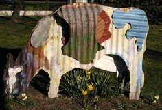 Corrugated iron cow sculpture, New Zealand High Commission, Canberra, Australia by roslyn.russell, via Flickr