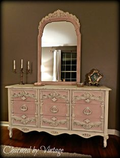 Chalk Paint® decorative paint by Annie Sloan in Antoinette and Old White! Beautiful work by Charmed by Vintage
