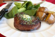 Filet Mignon with Garlic Herb Butter from a Romantic Dinner for Two Menu