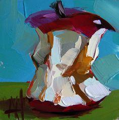 Apple Core original still life oil painting by Angela Moulton
