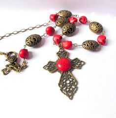 Bronze colour necklace with red skull beads and by shamankailona