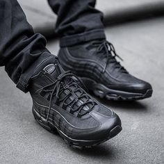 @nike has released a winterized version of its fan-favorite Air Max 95 silhouette. This rendition of the new retro runner comes dressed in premium Black leather with mesh underplays, and has been upgraded with a neoprene bootie and zip-closure.  Photo: @footpatrol_ldn