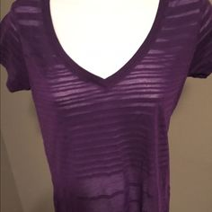 Women's sheer t shirt Purple sheer short sleeve tee. Has solid stripes with alternating sheer. Not stretched out form fitting and in mint condition Tee shop Tops Tees - Short Sleeve