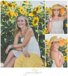 Janice Louise Photography | Delaware Portrait Photographer | Senior Portrait Session in sunflower field with hat.