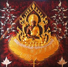 Color: Red Maroon and Gold    Materials: Acrylic, 100% Pure Gold leaf, Canvas, Solid wood    Size: H 100cm. x W 100cm.x D 3.5 cm    About this painting:  This art statue of Thai Buddha in meditation posture represents focused concentration and stability, which create an atmosphere of peace and calmness. This traditional piece of art is highly recommended to be introduced in a room where you wish to find serenity.    This painting is 100% handmade in high quality acrylic paint, on premium…