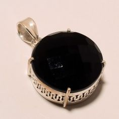 STAMP 925 SOLID STERLING SILVER FACETED SPINEL PENDANT 1.40 INCHES , 13 GRAM