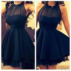 Stylish Women's Lapel Neck 3/4 Sleeve Solid Color Dress | ... chiffon black mesh skater dress skater high neck collar black dresses