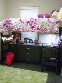 Bed risers with pullout storage bins and hooks on the end of a bed can add a lot of storage in a little space for your college dorm room. Description from pinterest.com. I searched for this on bing.com/images