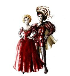 Kiss Me Kate (Kate and Petruchio at Lucentio and Bianca's wedding). Hartford Stage/Old Globe. Costume design by Fabio Toblini. 2015