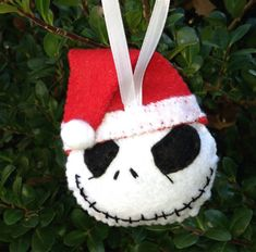 Santa Hat Jack Nightmare Before Christmas Felt Ornament skeleton