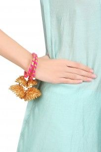 Pink and Gold Traditional Gota Ribbon Bangles Set