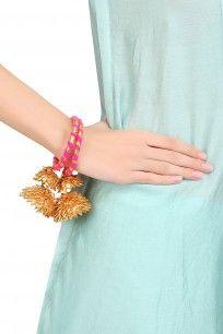 Pink and Gold Traditional Gota Ribbon Bangles Set