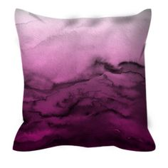 WINTER WAVES 5 Magenta Fuchsia Rose Pink Ombre Abstract Watercolor Waves Modern Decorative Art Throw Pillow Cushion Cover by EbiEmporium, #watercolor #throwpillow #pillowcover #pillow #cushion #magenta #fuchsia #pink #pinkandblack #abstract #chic #girly #modern #bedroom #bedding #designer #EbiEmporium #suede