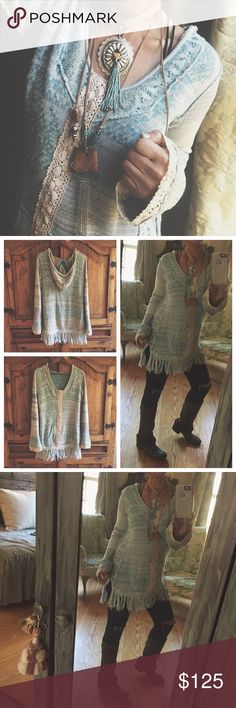 Free People /Fringe & Lace If you know me then you know I'm an Artist/ Designer. jewelry &altering my clothing  is my specialty. All created using gently up cycled wares and materials. Irregularities add to the uniqueness of the vintage ware &sold as is. All my altered pieces come with hangtags.Tunic length sweater with details of hand dyed cotton lace.Lace down the front and added to flair cuff.Must have for fall & winter.Perfect layering piece.Measurements upon request. Top only.One of the…