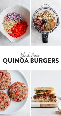never been a more delicious black bean quinoa burger in all the land. Why is this black bean quinoa burger special? Because it is made with perfectly roasted garlic and is packed with veggies, protein, and dynamic flavor. Give it a try today! Vegetarian Recipes Easy, Veggie Recipes, Cooking Recipes, Healthy Recipes, Beans Recipes, Healthy Lunches, Black Bean Quinoa Burger, Black Burger, Vegan Quinoa Burgers