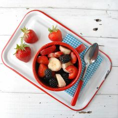 Patriotic Salads {this one Strawberry, Blackberry, Banana}.  Recipes and a list of red, white and blue fruit options!  @boulderlocavore