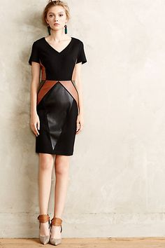 Patchworked Vegan Leather Dress #anthropologie