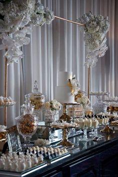 Example of dessert table setup Wedding Candy Table, Wedding Desserts, Wedding Cakes, Wedding Decorations, Desert Table, Dessert Buffet, Cake Table, Event Decor, Birthday Parties
