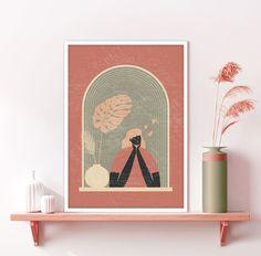 Downloadable Abstract Window View Print, Boho Wall Decor Potted Plants Art, Burnt Orange Wall Art, Terracotta Pot Print, Minimalist Art Orange Wall Art, Orange Walls, Printing Services, Online Printing, Plant Art, Window View, International Paper Sizes, Minimalist Art, Nursery Wall Art
